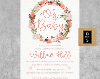 baby shower, invitation, girl, girls, pink, floral, printable, games, baby, DYI, digital, feminine, flower