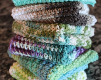Handmade Crocheted Cotton Washcloths Set of 3