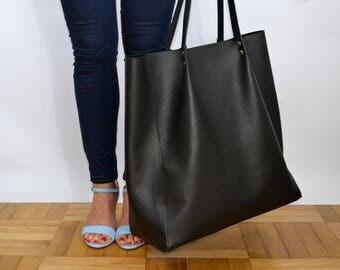 Large Tote bag, Lazy bag, leather shoulder tote, oversized tote, large school market everyday bag handbag, leather travel bag - BIJING BAG -