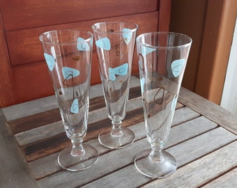 Vintage Federal Amoeba Boomerang Pilsner Glasses Atomic Space Age Turquoise and Gold Set of 3 / 3 glasses Atomic amoeba turquoise and gold