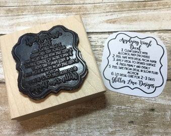Custom Vinyl Care Instructions, Clear Rubber Stamp, Wood or Cling Mounted, for decals, clothing, Tags, Business Cards