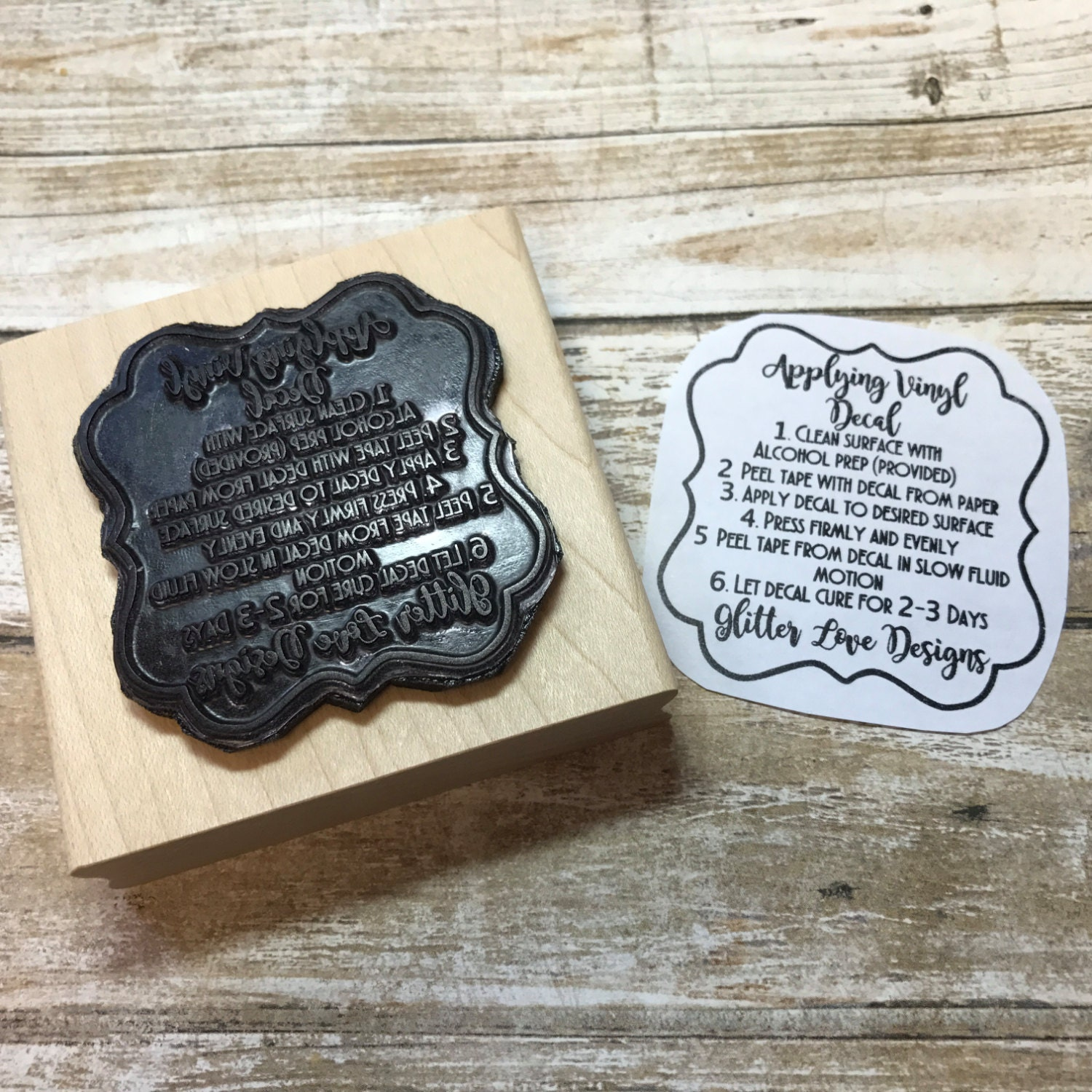 custom vinyl care instructions clear rubber stamp wood or