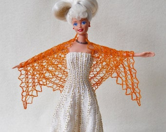 hand knit, hand dyed orange lacy shawl for barbie doll