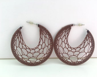 "Crochet hoops  2 "" in Brown"