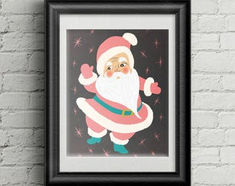 Holiday Decor, 8 x 10 Retro Pink Santa, Vintage Christmas Wall Art, Pink and Blue Christmas, Midcentury Modern Santa, Atomic Christmas