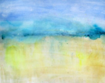 Staycation! - Rainy Beach Watercolour Seascape