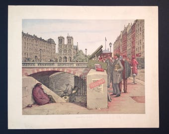 Vintage French cityscape lithograph Bookstalls on the Seine