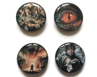 The Hobbit magnets or The Hobbit pins, Smaug, Bilbo Baggins, Gandalf