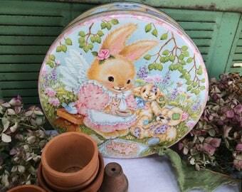 Vintage Bunny Tea Party Tin, Decorative Round Easter Tin, Home Decor,Rabbit, Teddy Bears, Candy Tin
