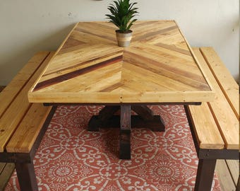 Custom Picnic Table and Benches with Reclaimed Pallet Top Herring Bone and Chevron Patterns