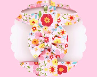 Pink Multi Flowers & Bow Dog or Puppy Harness