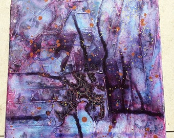 Acrylic painting canvas 20 x 20 tree of life structures abstract purple painting modern