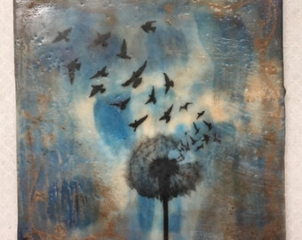From Wishful to fearless, original encaustic painting.