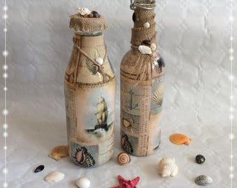 Bottles set maritime, glass, decoration, motif sea, vintage, mussels, vessel, seahorse, starfish,