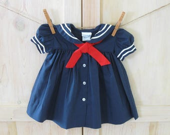 Girl's Sailor Dress 6 Months, Vintage Baby Girl's Dress, Red White and Blue 4th of July Baby Dress Outfit, Retro Infant Summer Baby Dress