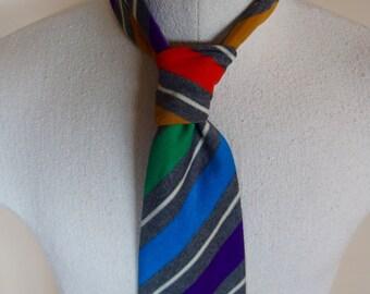 1970s Vintage Bold Stripes Necktie Wide Mens Tie 70s