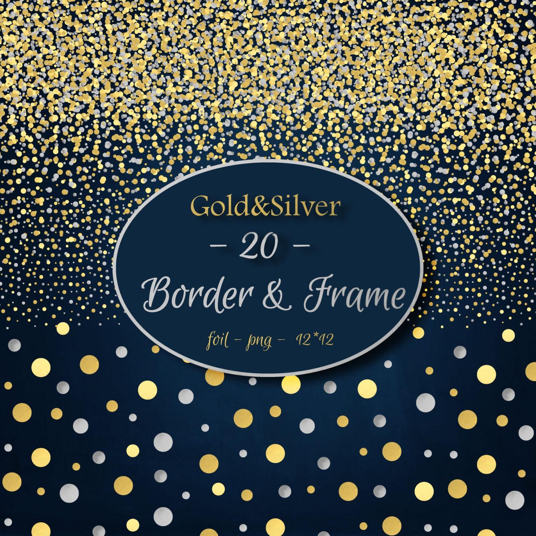 foil digital clipart gold silver foil border frames confetti