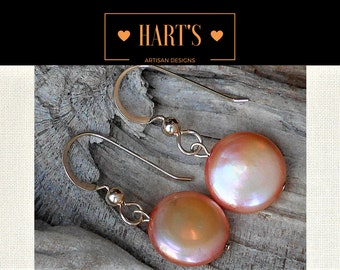Burnt Orange Coin Pearl 14K Gold Earrings