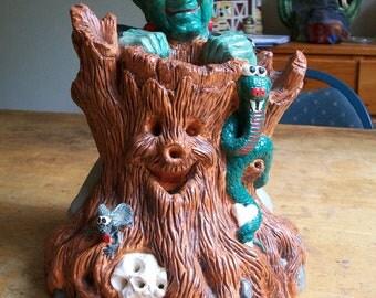 Wee Crafts Hand Painted Halloween Frankenstein Lighted Ceramic Figurine