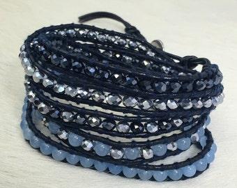 SALE Blue jade Wrap Bracelet on navy Leather- Leather Wrap Bracelet, Beaded Wrap Bracelet, Blue Bracelet, 5 Wrap Bracelet