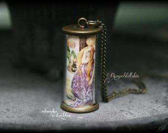 "On FairyTale ""Rumpelstiltskin"" antique bronze glass cylinder fairy necklace"