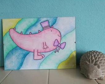 Dinosaur Blues. A4 hand drawn design. Beautiful Nursery Accessory