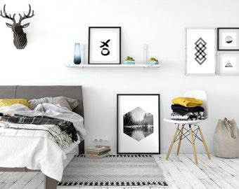 Geometric Mountain Art, Hexagon Shape, Geometric Landscape, Scandinavian Style, Printable Poster Art, Wall Art Prints, Black and White Print