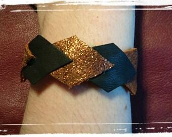 Black and copper leather strap