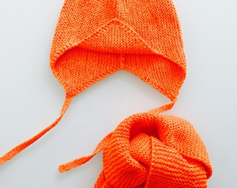 Hand Knit Baby Hat and Scarf Set