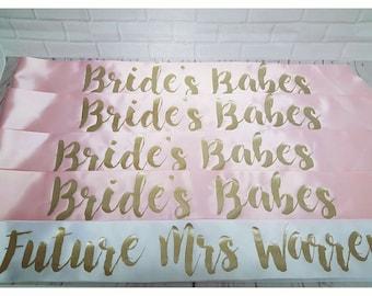 Pack of 10 - Birthday Sash. Wedding Sash. Hen Party Sash. Bridesmaid Sash. Bride Sash.