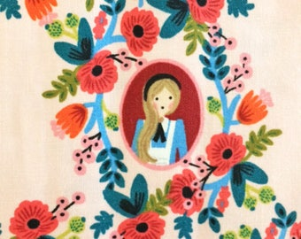 Alice in Wonderland Fabric | White Rabbit | Mad Hatter | Flowers | Pink Floral | Wonderland Portraits | Cameos Rose | Rifle Paper Co.