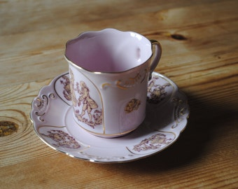 RGK Czech Vintage Pink cup and Saucer Hand Painted 14 karat gold 42, 1945-92