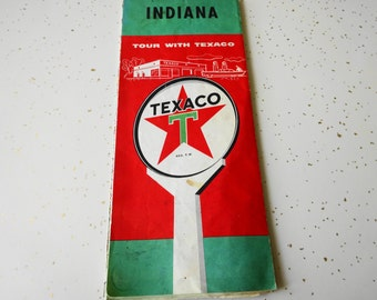 Vintage Texaco INDIANA Advertising 1950's Road map