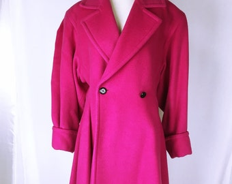 Yves Saint Laurent Shocking pink wool coat