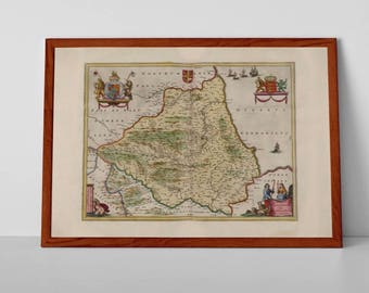 Old Map of Durham | Fine Art Giclée Reproduction | Antique Map of Darlington, Hartlepool, Stockton-on-Tees Map, Northumbria, N.E. England
