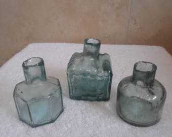 antique glass inkwells 3 different designs  available selling individually