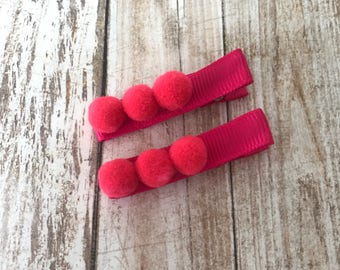 Pompom Hair Clips | Hair Clips | Pink Pompom Hair Clips | Pink Hair Clips | Newborn Hair Clips | Toddler Hair Clips | Set of Two Hair Clips