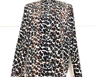 VTG 90s Leopard Print Blouse