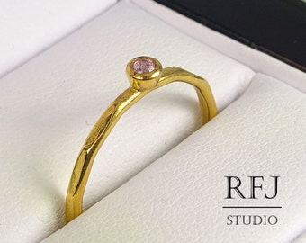 Faceted Lab Pink Diamond GF Ring, 24K Yellow Gold Plated Pink 2 mm Cubic Zirconia April Birthstone Ring, Gold Plated Pink CZ Stacking Ring