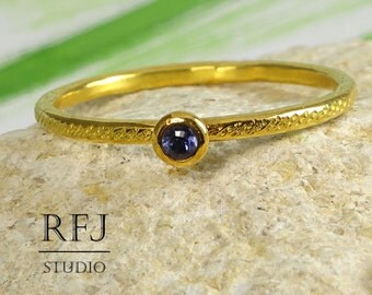 Natural Iolite Dainty Textured Gold Ring, Round Cut 2 mm Iolite 24K Yellow Gold Plated Ring, Blue Iolite Stack Gold Ring, Golden Iolite Ring
