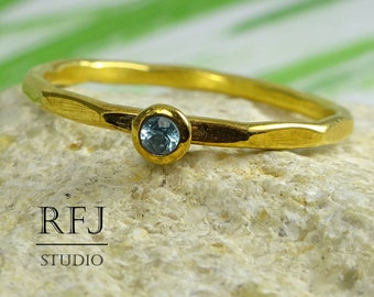 GF Natural Swiss Topaz Faceted Ring, December Birthstone 24K Yellow Gold Plated Ring, 2 mm Round Cut Swiss Blue Topaz Golden Stackable Ring