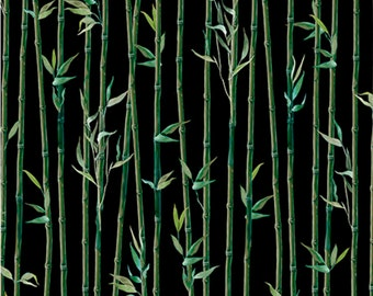 "Bamboo Fabric: IMPERIAL PANDA BAMBOO Stripe on Black by Quilting Treasures 100% cotton fabric by the yard 36""x43"" (N604)"