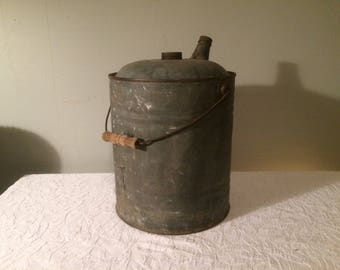 Antique Galvanized Metal Water Can with Wooden Handle - Gas Can
