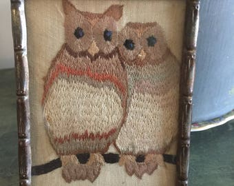 Sweet vintage embroidered owl picture