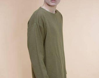 Linen sweatshirt in khaki green