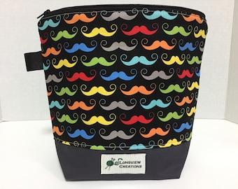 Wedge Bag, Knitting Project Bag, Sock Size, Make-up Bag, Mustache