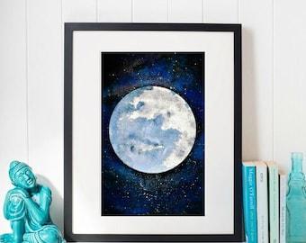 Moon painting, fantasy moon painting, acrylic moon A4 print, full moon, galaxy painting