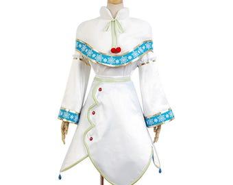 Vocaloid Snow Miku White Uniform Cosplay Costumes