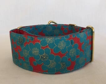Turqouise Blooms Martingale Dog Collar