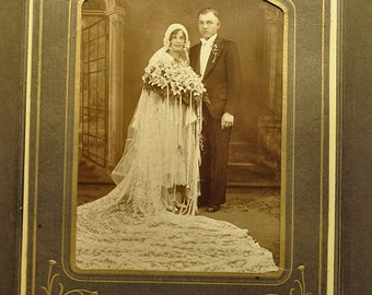 Elegant Formal Wedding Photo of a 1920's Bride and Groom, Brooklyn, New York